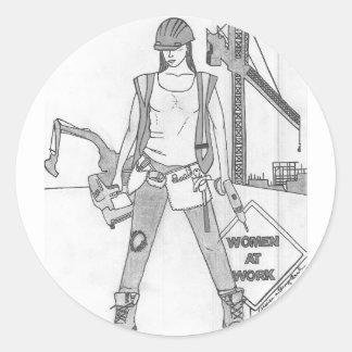 Women at Work Classic Round Sticker