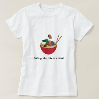 Women Basic Tee with Fish Ramen Bowl original art