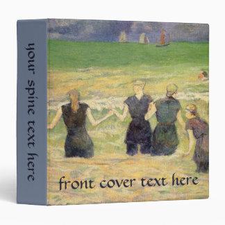 Women Bathing Dieppe by Paul Gauguin 3 Ring Binder
