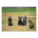 Women Bathing Dieppe, Gauguin, Post Impressionism Greeting Card