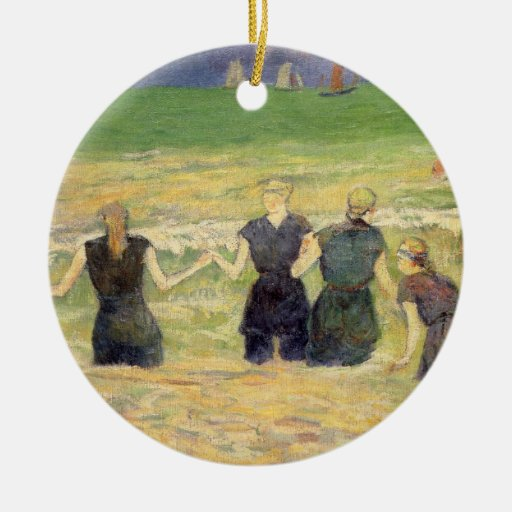 Women Bathing Dieppe, Gauguin, Post Impressionism Double-Sided Ceramic Round Christmas Ornament