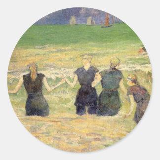 Women Bathing Dieppe Gauguin Post Impressionism Round Sticker