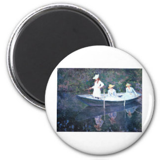 Women Boating - Claude Monet 2 Inch Round Magnet