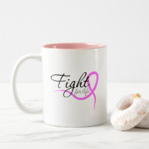 women breast cancer awareness - fight for life Two-Tone coffee mug