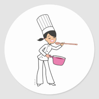 Women Chef Sticker with Illustration
