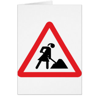 women construction building-site warnsign card