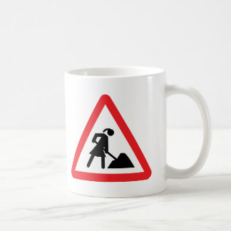 women construction building-site warnsign coffee mug