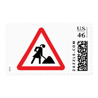 women construction building-site warnsign stamp