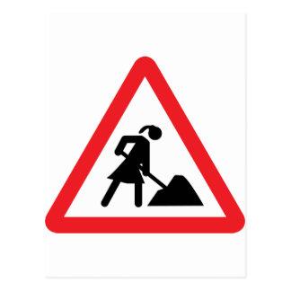 women construction building-site warnsign postcard