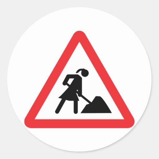 women construction building-site warnsign classic round sticker