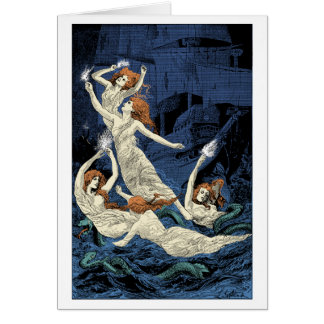 Women dancing above waters greeting card