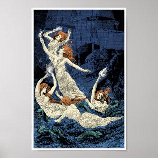 Women dancing above waters print
