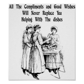 Women doing dishes house work quotes Vintage Art Poster
