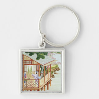 Women doing domestic work Silver-Colored square keychain