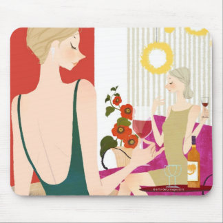 Women Drinking Wine Mouse Pad