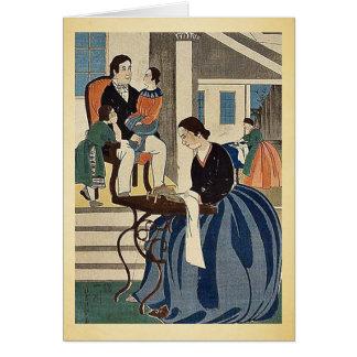 Women engaged in dressmaking by Utagawa,Yoshikazu Greeting Card
