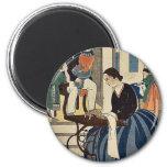 Women engaged in dressmaking by Utagawa,Yoshikazu Fridge Magnet