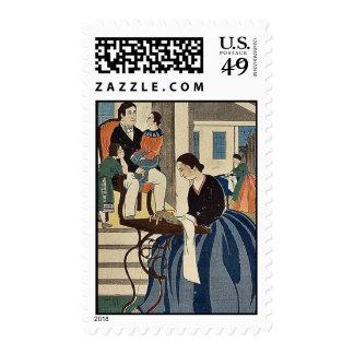Women engaged in dressmaking by Utagawa,Yoshikazu Postage Stamps