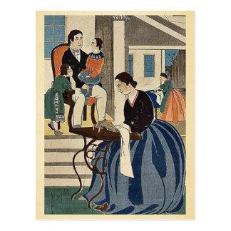 Women engaged in dressmaking by Utagawa,Yoshikazu Postcard