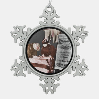 Women Enroll to Volunteer  During Wartime Snowflake Pewter Christmas Ornament