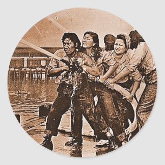 Women Firefighters Pearl Harbor December 7th Classic Round Sticker