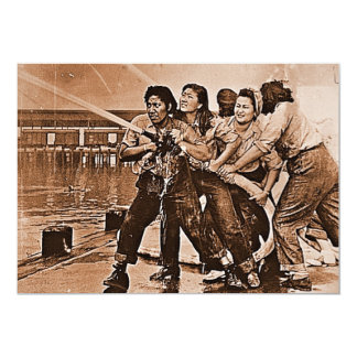 Women Firefighters Pearl Harbor December 7th 5x7 Paper Invitation Card