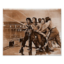 Women Firefighters Pearl Harbor December 7th Poster