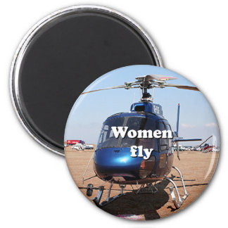 Women fly: blue helicopter 2 inch round magnet