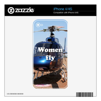 Women fly: blue helicopter decal for iPhone 4