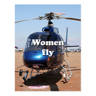 Women fly: blue helicopter postcard