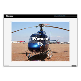 """Women fly: blue helicopter skins for 15"""" laptops"""