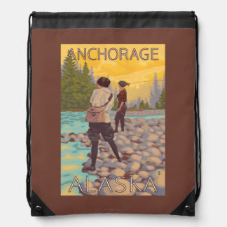 Women Fly Fishing - Anchorage, Alaska Drawstring Backpack