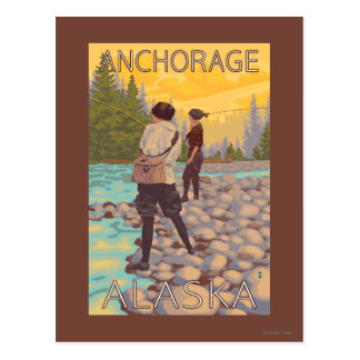 Women Fly Fishing - Anchorage, Alaska Postcard