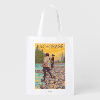 Women Fly Fishing - Anchorage, Alaska Reusable Grocery Bags