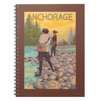 Women Fly Fishing - Anchorage, Alaska Spiral Notebook