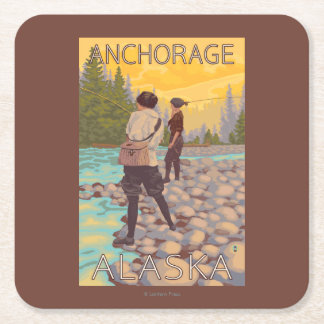 Women Fly Fishing - Anchorage, Alaska Square Paper Coaster
