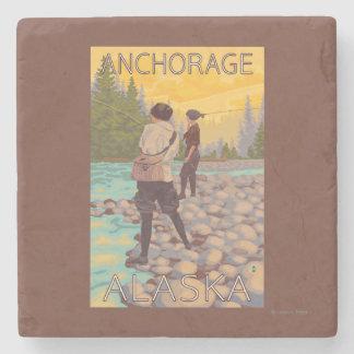 Women Fly Fishing - Anchorage, Alaska Stone Coaster