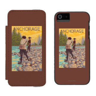 Women Fly Fishing - Anchorage, Alaska Wallet Case For iPhone SE/5/5s