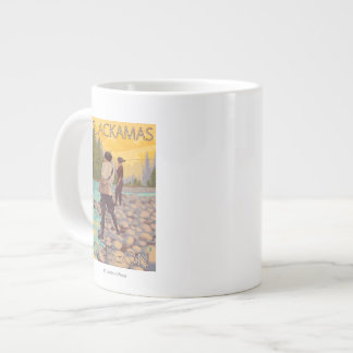 Women Fly Fishing - Clackamas, Oregon Giant Coffee Mug