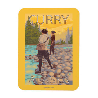 Women Fly Fishing - Curry, Alaska Magnet