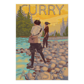 Women Fly Fishing - Curry, Alaska Posters
