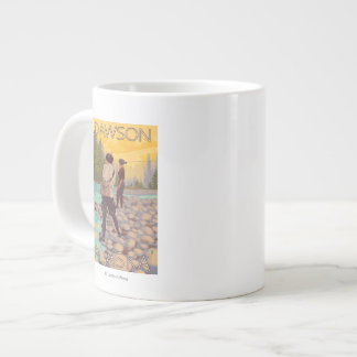 Women Fly Fishing - Dawson, Alaska Large Coffee Mug