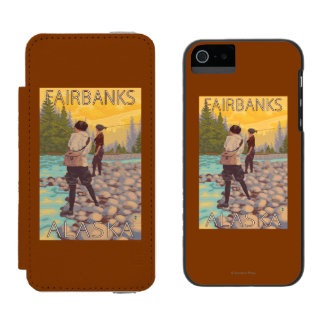 Women Fly Fishing - Fairbanks, Alaska Wallet Case For iPhone SE/5/5s