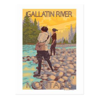 Women Fly Fishing - Gallatin River, Montana Postcard