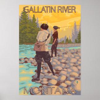 Women Fly Fishing - Gallatin River, Montana Poster
