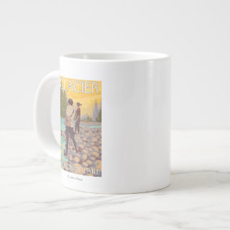 Women Fly Fishing - Glacier National Park, MT Large Coffee Mug