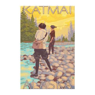 Women Fly Fishing - Katmai, Alaska Canvas Print