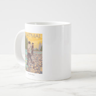 Women Fly Fishing - Katmai, Alaska Large Coffee Mug