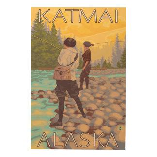 Women Fly Fishing - Katmai, Alaska Wood Print