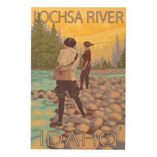 Women Fly Fishing - Lochsa River, Idaho Wood Print